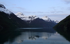 (A Sutanto) Tags: morning cruise snow mountains reflection norway dawn twilight sailing ship view scenic cruising deck sail fjord geiranger geirangerfjord