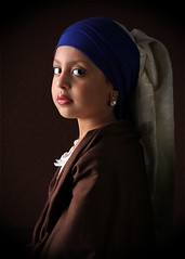 Girl with a pearl earing (Hanan MH) Tags: blue portrait girl pearl earing