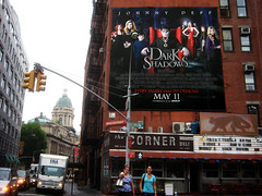 Dark Shadows Movie Poster Above The Corner Deli NYC 6576 (Brechtbug) Tags: from street new york city nyc film dan television fashion monster by corner vintage dark movie poster 1971 tv soap 60s opera shadows action jonathan vampire gothic broadway diner 1966 dracula billboard created masks figure johnny deli 70s undead monsters 1970 depp collins vampires barnabas episode curtis 2012 frid vampyr 1960 delis 36th standee collinsport 06262012