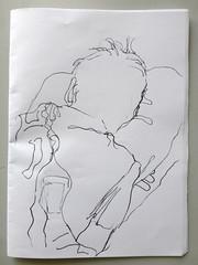 rogier (maartje jaquet) Tags: sleeping home amsterdam paper sketch drawing husband rogier backside papier feltpen tekening schets achterkant