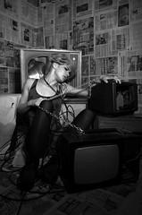 mass-media influence (JurnalFotografic) Tags: portrait broken girl television tv hands newspapers chain massmedia womanportrait tvinfluence