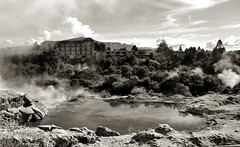 te puia 7.jpg (Jagged-Angel) Tags: bridge water fog mono hotel nikon steam nz geyser tepuia