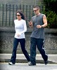 Claudine Farrell and Colin Farrell Colin Farrell dressed casually in Adidas tracksuit bottoms as he goes for a power walk with his sister along Sandymount Strand Dublin, Ireland