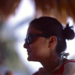 Ana (Dr. RawheaD) Tags: people beach sunglasses zeiss ana fuji maria belize hasselblad carl thatch f2 provia placencia planar 100f 110mm 203fe