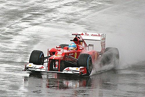 Fernando Alonso's Ferrari at Silverstone