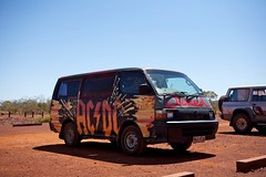 AC/DC Wicked at Karijini National Park (huskyte77) Tags: westernaustralia 2470mm australia wittenoom canoneos5d dalesgorgeroad nationalpark sky outback day outdoor landscape view trip oz eos travel gps aussie 2011 november flickr canon vacation nature weather parking lot red gravle stone wicked camper acdc black design 2wd blue clear canonef2470mmf28l gravel orange road street track