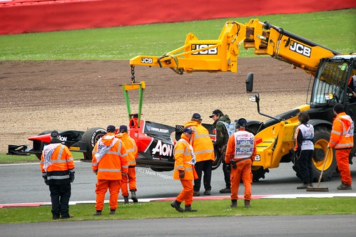 Max Chilton's Marussia GP2 car is recovered at Silverstone