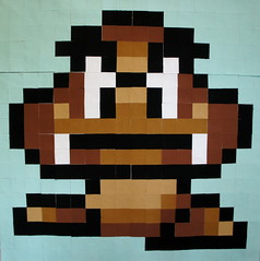 Goomba - Block #3 in the Super Mario Bros QAL (Cut To Pieces) Tags: game quilt nintendo mario fabric luigi solid goomba michaelmiller supermariobrothers quiltalong cottoncouture cuttopieces supermariobrosqal