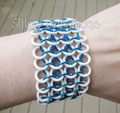 Blue and White Chainmaille Bracelet (merigreenleaf) Tags: blue white handmade turquoise jewelry rubber stretch fantasy bracelet chainmail chainmaille