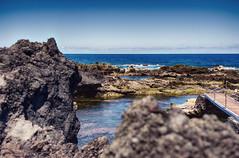 Biscoitos (Maria.Elizabethe) Tags: beach ocean sea rocks lava volcanic island portugal vacation waves sky hdr