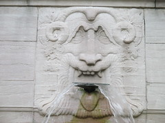 Confused Lion Fountain in Riverside Drive Park 3778 (Brechtbug) Tags: confused lion fountain riverside drive park 08212016 part the firemans memorial water fountains profile new york public parks 100th street nyc statues sculpture summer weather art architecture statue stone cool blue clear refreshing lions animal animals falling waters 2016