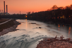 "Sunset @river ""Isar"", Munich (mistermo) Tags: longexposure canon canoneos50d munich mnchen sunset night dark isar river bavaria bayern sky"