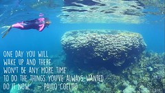 Travel quote (Garfield4989) Tags: travel traveller quote one day you will wake up there wont be any more time do things youve always wanted it now paulo coelho snorkel