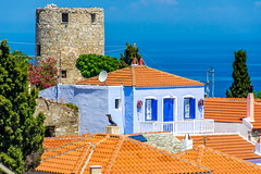 Rapunzel's Tower.... (Photo_hobbyist) Tags: houses architecture blue green alonnisos tower old building trees sea sporades island greece vacations