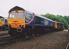 """First GB Railfreight Class 66/7, 66731 & Class 73/2, 73209 """"Alison"""" (37190 """"Dalzell"""") Tags: first gbrf gbrailfreight blueorange barbielivery bluebird gm generalmotors shed class66 class667 ee englishelectric vulcanfoundry ed jb electrodiesel shoebox class73 class732 66731 73209 alison 73120 e6026 openday mereheadquarry"""