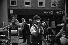 Glass Ball Balance (LomographLadyGrey.22mod) (AngusInShetland) Tags: edinburgh edinburghfestivalfringe thefringe edinburghfestival grassmarket minolta minoltadynax7000i maxxum canoscan5600f lomographladygrey