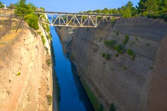 Corinthian Canal (Herculeus.) Tags: 2016 aug bridges canals corinth corinthiancanal greece isthmusofcorinth peloponnese outdoor outside landscape summer cloudless railroadbridge 5photosaday ngr