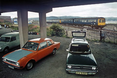 The North Wales bash (geoff7918) Tags: llandudnojunction dmu manchester 04071981 cars fordescort cortina commer