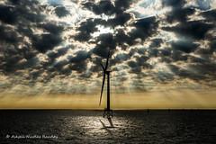 Windmill (Askjell's Photo - @work - very slow internet) Tags: atlanticocean light maritime northatlantic ocean sea vessel morning seascape sunburst windturbine windmill windpark windpower askjell