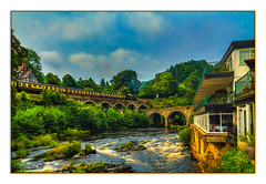 Berwyn Station (Kevin, from Manchester) Tags: llangollen railway steamtrain river riverdee sky clouds water wales kevinwalker canon1855mm architecture trees hotel photoborder