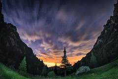 Stars and Clouds (Macovei Tinel) Tags: sky night falling star clouds forest mountains rock grass sunset astro