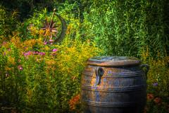 Garden Over the Water (David Warlick) Tags: adobelightroom lakelure lakelurenc photomatixpro fountain garden green hdr nikon urn northcarolina unitedstates us