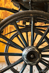 Close up view of carriage wheels with long spokes (Simeo Donov) Tags: 19thcentury antique axle bygone carriage chassis circular classical closeup collectible component design detail drive historic horsedrawn hub large lowangle nostalgia obsolete old oldenday part passenger phaeton retro ride round spokes style suspension transport transportation travel vehicle vintage wheel wood wooden