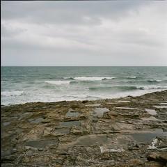 The Cantabric Sea (davidgarciadorado) Tags: 6x6 rolleiflex 120film ektar galicia spain sea rocks waves clouds