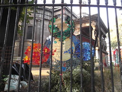 15th September 2016 (themostinept) Tags: art colours shapes plastic red blue green circles railings stpancraschurch london camden eustonroad nw1 stpancras