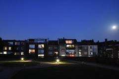 Moonlight (jacques_teller) Tags: belgium brussels moonlight night blue hour bluehour woluwesaintpierre landscape nightscape houses inhabitant lighting indoor ordinary beauty quiet moon park green jacquesteller