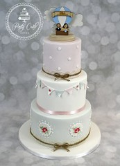 Handpainted Cath Kidston Inspired 3 Tier Wedding Cake With Bunting. (Ponty Carlo cakes) Tags: bunting cake cardiff cathkidston ganache handpainted lace pink pontycarlocakes pontypridd provence rustic sharpedge spots twinebows vintage weddingcake