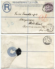Registered letter sent from Pimlico to Knole Road, Bournemouth, in 1883 (Alwyn Ladell) Tags: 1d dorset bournemouth queenvictoria pimlico postmark 1883 qv boscombe onepenny abergeldie missmackenzie knoleroad pennylilac singlecircle