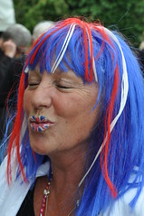 Mrs Great Britain (Rudi Pack Photography) Tags: greatbritain light party people woman wet night hair lite fire countryside day locals village unitedkingdom lips henry celebrations wig unionjack beacon essex streetparty magicshow feex dutonhill b777f queensdiamondjubilee frontgardentiltyparish