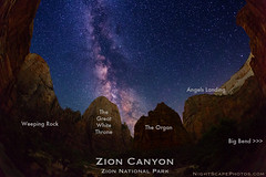 """Starry Canopy over Big Bend, Zion Canyon - identification (IronRodArt - Royce Bair (""""Star Shooter"""")) Tags: sky mountain mountains monument nature night dark stars evening big twilight shiny long exposure heaven glow shine nightscape bend time dusk infinity space deep twinkle astro sparkle galaxy astrophotography planet astronomy angelslanding zionnationalpark heavens universe exploration cosmic constellations cosmos distant nightscapes zions bigbend starrynight milkyway starlight theorgan zioncanyon starrynightsky"""