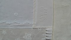 Block 1 damp stretched (fatquarter (Annet)) Tags: crossstitch frenchknots featherstitch straightstitch rouleauloops fancyhemstitch embroiderembellishcreate tast2012