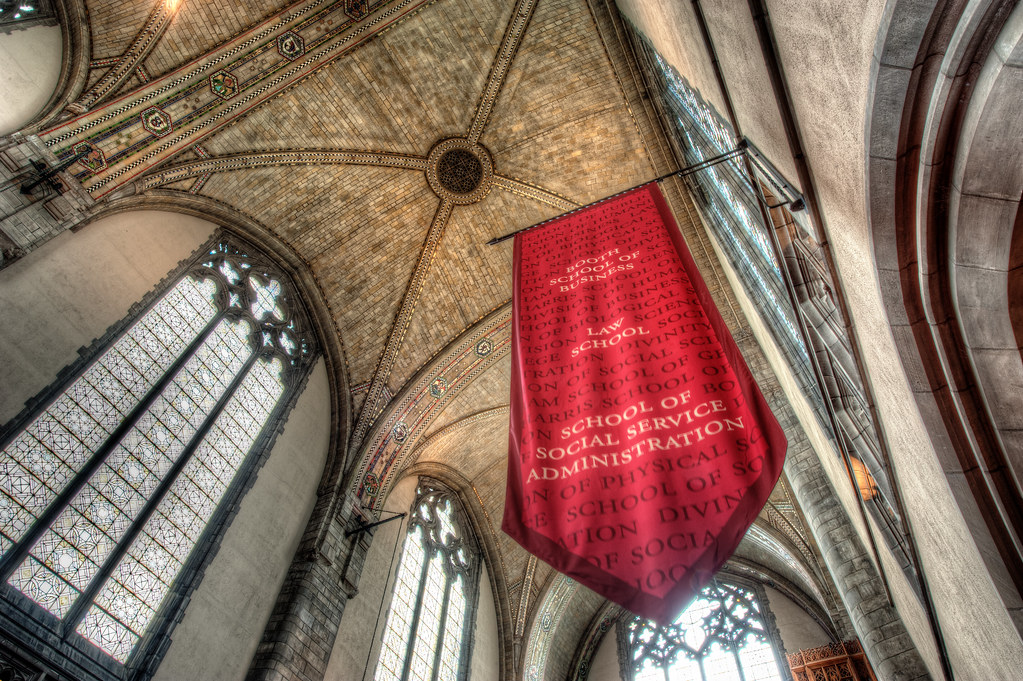 A banner at Rockefeller Memorial Chapel.