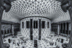 Great Court Shadows (Daniel Borg) Tags: uk roof shadow england blackandwhite sun black london canon unitedkingdom wideangle fisheye holborn handheld britishmuseum 8mm hdr tonemapped samyang handheldhdr greatcourtroof samyang8mm canon550d