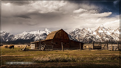 Barn on Mormon Row (Just Used Pixels) Tags: old usa snow storm mountains clouds barn landscape buffalo antique structure wyoming tetons nationalparks bison grandtetonnationalpark mormonrow tetonnationalpark