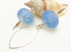 Mr Blue Sky (Beguiled By The Bead) Tags: jewellery pearl earrings lampwork sterlingsilver goldfilled