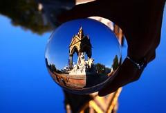 Royal Albert Hall through a Crystal Ball (Anatoleya) Tags: london gardens ball memorial crystal albert prince olympus micro kensington fourthirds anatoleya epl3
