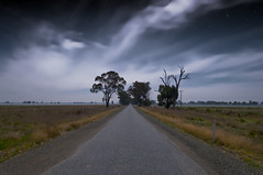 Road to Wakiti Creek (Indigo Skies Photography) Tags: road trees sky moon colour grass night clouds digital rural stars photography flickr farm country australia victoria nighttime moonlight colourful bitumen gravel paddocks tongala nikond90 wakiticreek raychristy