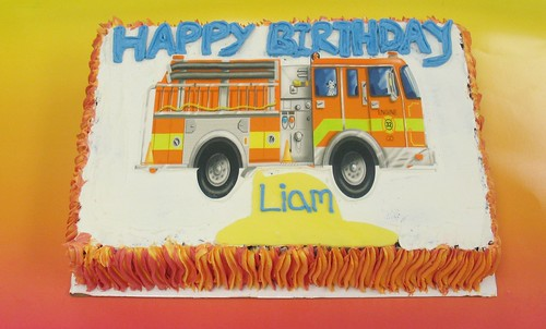 [Image from Flickr]:Fire Truck Cake (serves 22-25)