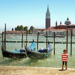 Venice soon to have a female gondolier (Bn) Tags: world life voyage street city trip travel venice houses windows light red sea summer portrait people italy music orange sun color reflection heritage water girl beauty sunglasses weather yellow river pose boats isl