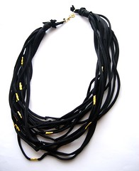 Black fabric necklace with gold (d'ekoprojects) Tags: necklace recycled jewelry fabric ecofriendly handmadejewelry upcycled handmadenecklace recycledjewelry ecofriendlyjewelry upcycledjewelry fabricnecklace upcyclednecklace