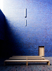 Meditation Chapel in Blue III (yushimoto_02 [christian]) Tags: wood blue church horizontal architecture germany bench munich mnchen sacral seat religion entrance kirche bank nopeople illuminated indoors brickwall zen sacred architektur munchen blau pew mystic muenchen mystisch kapelle absence chappel sitzbank sitz colorimage threeobjects sakral seatbench domenikus domenikuszentrum dominikuszentrum