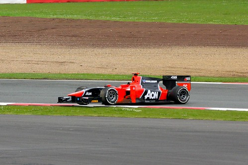 Max Chilton's Marussia GP2 car after a spin at Silverstone