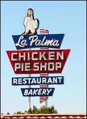 Repainted.  Restored.  Revisited. (greenthumb_38) Tags: california sign neon retro neonsign potpie orangecounty anaheim lapalma chickenpotpie 70200mm repaint repainted chickensign lapalmachickenpieshop canon40d jeffreybass