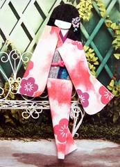 ATC1055 - By the garden bench (tengds) Tags: pink flowers atc garden bench purple geisha kimono obi origamipaper papercraft japanesepaper washi ningyo handmadecard chiyogami yuzenwashi japanesepaperdoll origamidoll nailartsticker tengds