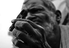 Old Indian Fisherman ([PKPC]) Tags: street old light shadow sea portrait people blackandwhite bw india art beach contrast marina dark photography 50mm mono photo interesting fisherman nikon exposure noir shadows hand image noiretblanc retrato finger indian streetportrait naturallight portrt ring soul photowalk chennai soulful oldage pretoebranco tamil tamilnadu southindia cwc indianman pkpc pallavaram d7000 thirisulam nikond7000 chennaiweekendclickers praveenkumarpalanichamy pkpcphotography pkpcwork cwc175