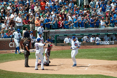Home run (stevesheriw) Tags: chicago game illinois baseball ballgame cubs wrigleyfield 13 1914 44 wrigleyville cardinals shortstop firstbase friendlyconfines anthonyrizzo starlincastro 2012stevenmwagner
